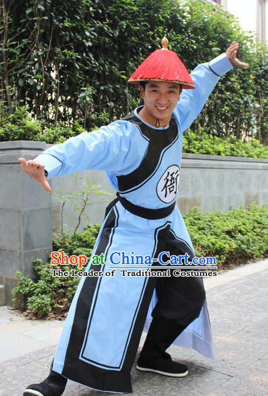 Asian Chinese Qing Dynasty Solider Long Dresses Hanfu Costume Clothing Chinese Robe Chinese Kimono and Crown Complete Set for Men