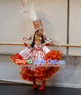 Chinese Traditional Mongolian Xinjiang Dance Costumes Complete Set for Women or Gilrs