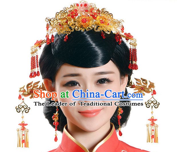 Handmade Asian Chinese Classical Wedding Hair Accessories Fascinators Hair Sticks Hairpins Hair Bows Hair Pieces Bridal Hair Clips Phoenix Crown Coronet