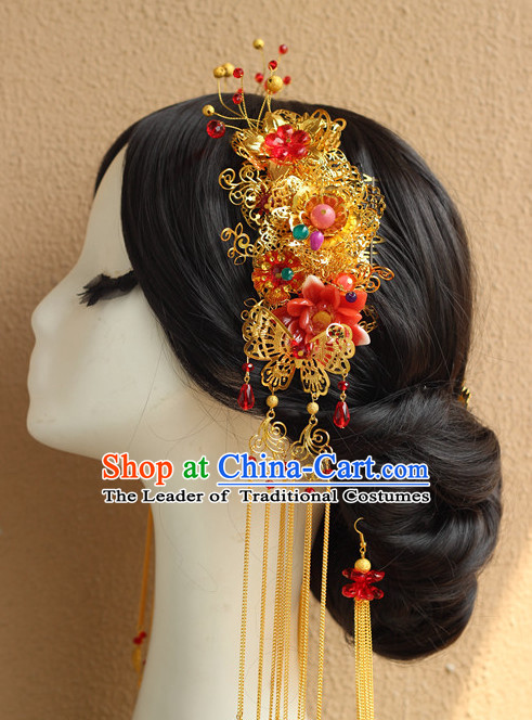 Handmade Asian Chinese Clical Wedding Hair Accessories Fascinators Sticks Hairpins Bows Pieces Bridal