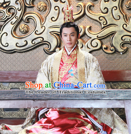 Ancient Chinese Prince Emperor Clothing and Hat Complete Set for Men or Boys