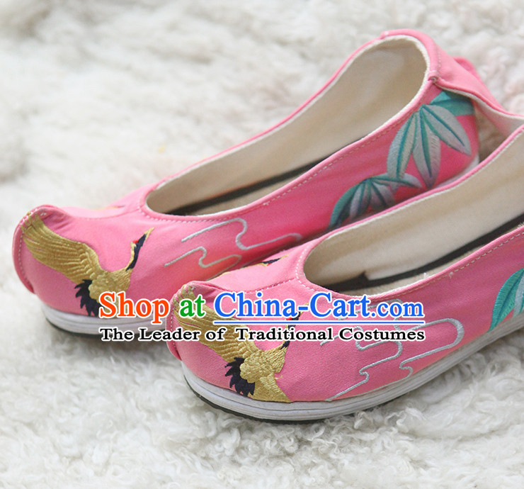 Handmade Chinese Ancient Embroidered Crane Princess Shoes for Women and Girls