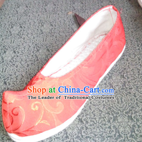 Chinese Ancient Handmade Traditional Bow Fabric Shoes for
