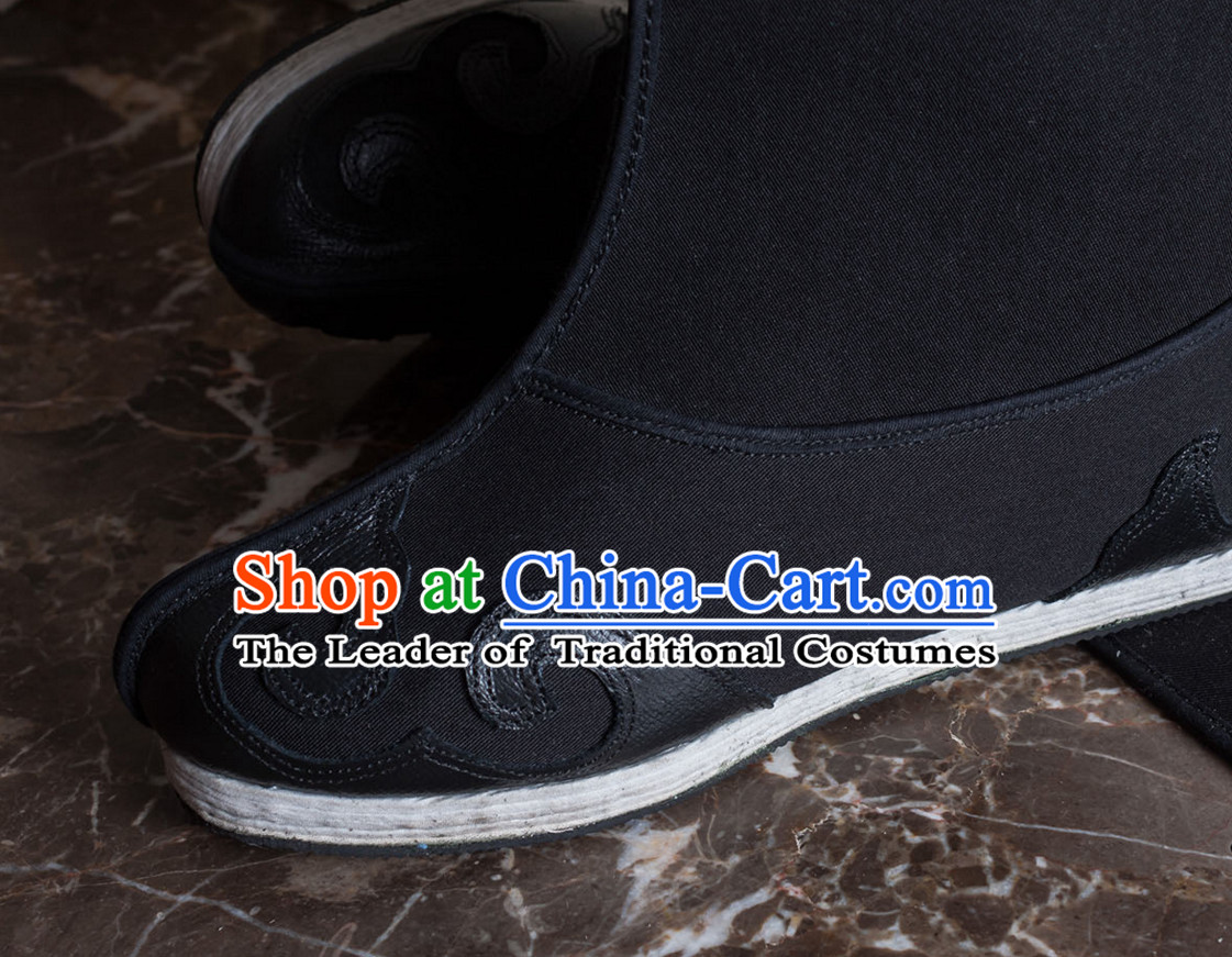 Ancient Chinese Handmade Auspicious Cloud Long Black Shoes for Men