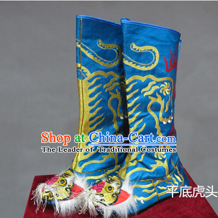 Blue Chinese Traditional Bian Lian Mask Change Tiger Head Boots