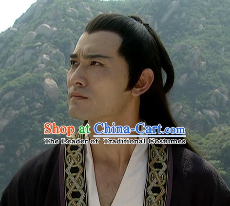 the Tang Dynasty Hairstyles Xue Shao Black Long Wigs for Men
