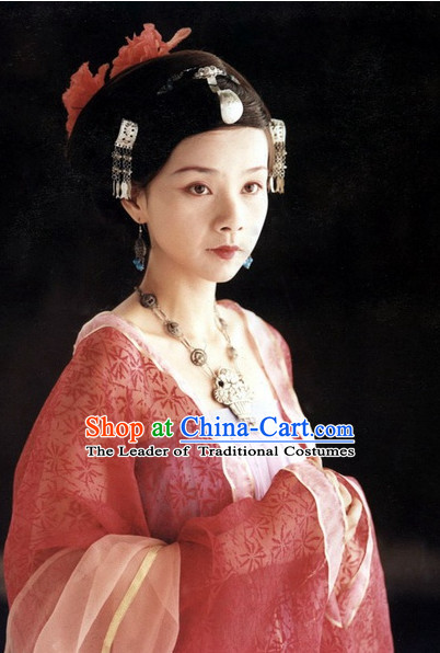 the Tang Dynasty Hairstyles Palace Empress Black Wigs and Hair Accessories for Women or Girls