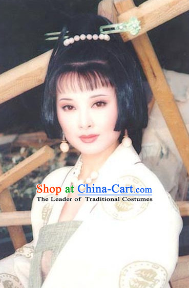 the Tang Dynasty Hairstyles Palace Princess Black Wigs and Hair Accessories for Women or Girls