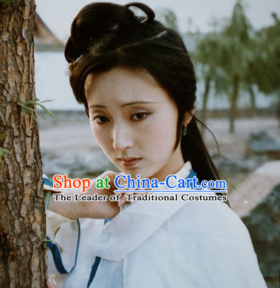 Dream of Red Chamber Lin Daiyu Black Long Wigs for Women or Girls