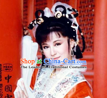 Ancient Chinese Imperial Beauties Empress Black Wigs and Hair Styling Accessories Gold Hair Clips