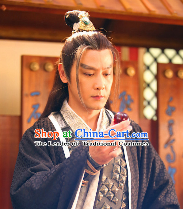 Ancient Chinese Fashion Noblemen Black Long Wigs and Hair Accessory for Men or Boys