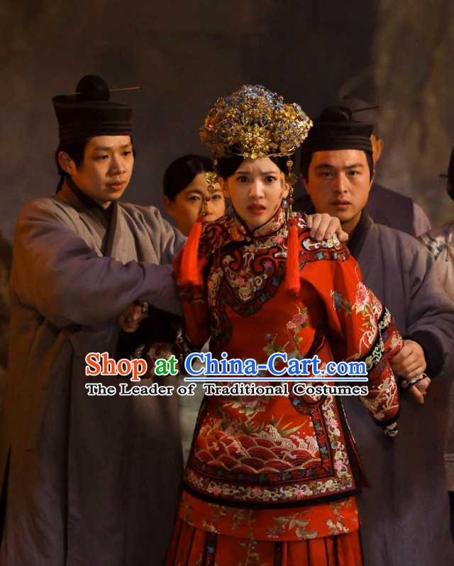 Wuxin The Monster Killer Drama Qing Dynasty Chinese Wedding Dress Authentic Clothes Culture Costume Dresses Traditional National Dress Clothing and Headwear Complete Set