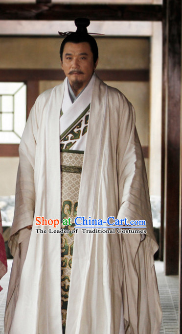 Ancient Chinese Style Hanfu Long Robe Dress Authentic Clothes Culture Costume Han Dresses Traditional National Dress Clothing and Headwear Complete Set for Men