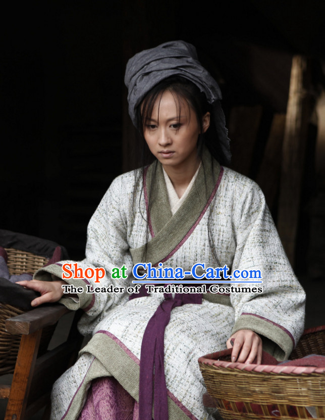 Chinese Female Farmer Hanfu Dress Authentic Clothes Culture Costume Han Dresses Traditional National Dress Clothing and Headdress Complete Set for Women