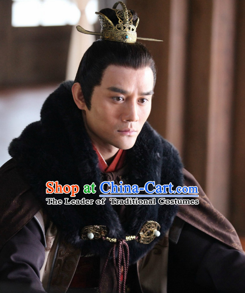 Ancient Chinese Traditional Style Black Hair Wigs and Headpieces for Young Men