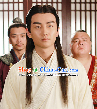 Ancient Chinese Traditional Style Long Black Hair Wigs for Handsome Men