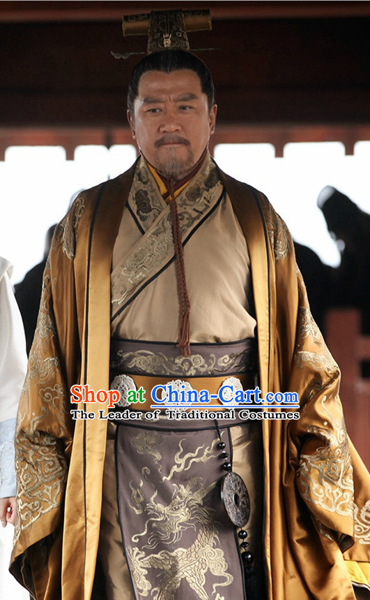 Ancient Chinese Style Emperor Dress Authentic Clothes Culture Costume Han Dresses Traditional National Dress Clothing and Headdress Complete Set