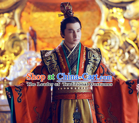 Ancient Chinese Style Emperor Costumes Dress Authentic Clothes Culture Han Dresses Traditional National Dress Clothing and Headdress Complete Set