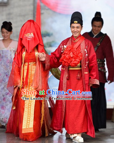 Ancient Chinese Brides and Bridegroom Wedding Dress Authentic Clothes Culture Han Dresses Traditional National Dress Clothing and Headpieces 2 Complete Sets