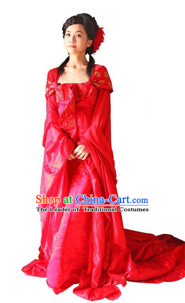 Ancient Chinese Style Red Wedding Dress Costumes Dress Authentic