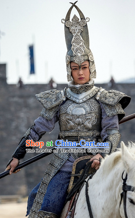 Ancient Chinese Style Body Armor Costumes Dress Authentic Clothes Culture Han Dresses Traditional National Dress Clothing and Headpieces Complete Set for Men