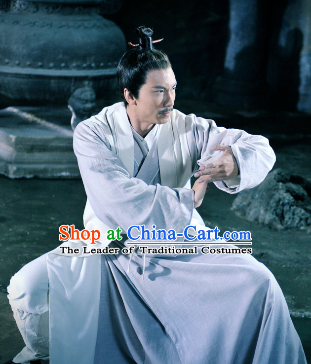 Ancient Chinese Style Kung Fu Taoist Costumes Dress Authentic Clothes Culture Traditional National Clothing and Headpieces Complete Set for Men