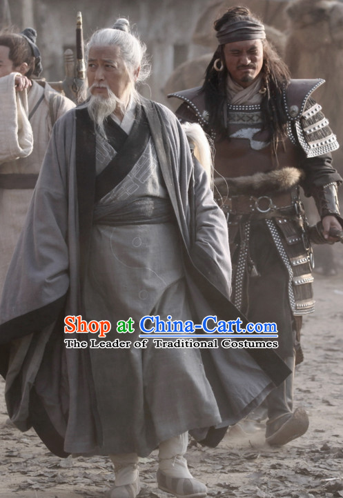 Ancient Chinese Style Hanfu Costumes Dress Authentic Clothes Culture Traditional National Clothing and Headpieces Complete Set for Old Men
