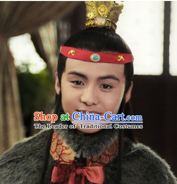 Ancient Chinese Style Jia Baoyu Male Long Black Wigs and Hair Jewelry Set