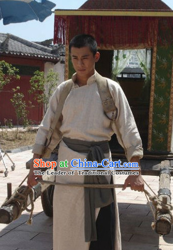 Ancient Chinese Style Male Kung Fu Long Robe Costumes Dress Authentic Clothes Culture Traditional National Clothing Complete Set