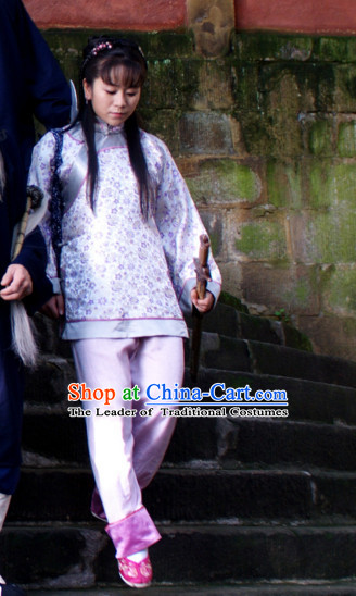 Traditional Chinese Style Mandarin Blouse and Pants Complete Set for Women