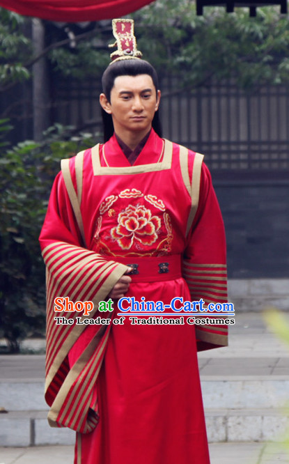 Traditional Chinese Ancient Hanfu Male Wedding Dresses and Coronet Complete Set