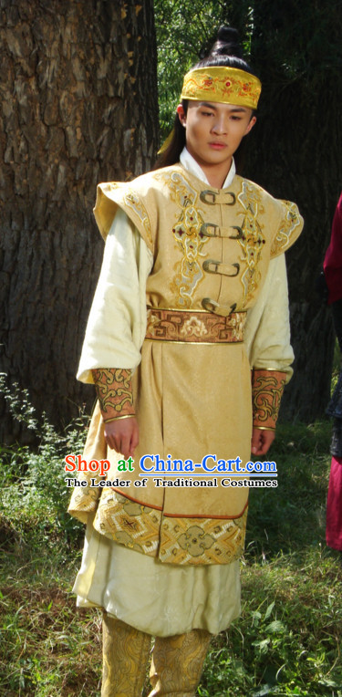 Traditional Chinese Ancient Yellow Male Prince Suits Complete Set