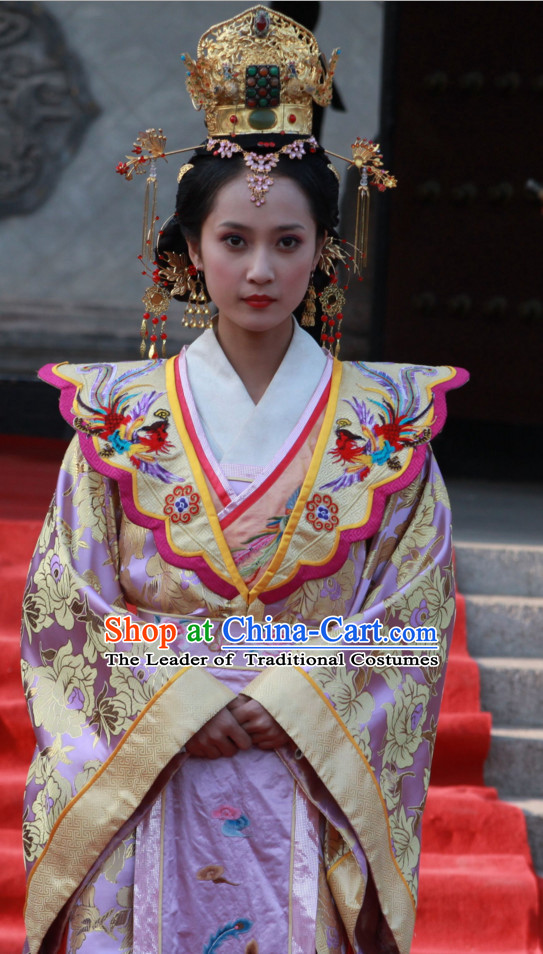 Traditional Chinese Ancient Queen Costumes and Hairpieces Complete Set for Women
