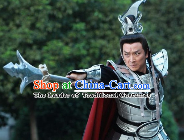 Chinese Stage Performance TV Drama Divine Warrior Costumes Complete Set for Men