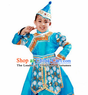Chinese Traditional Ethnic Mongolian Suit and Hat Complete Set for Girls