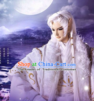 Ancient Chinese Imperial Royal Prince Long White Wigs for Men