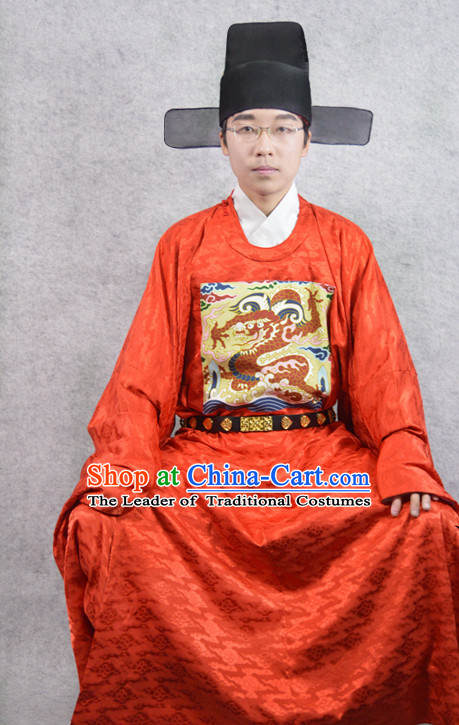 Red Chinese Official Costumes and Hat Complete Set for Men