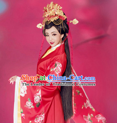 Ancient Chinese Bridal Wedding Garment and Headpieces Complete Set for Brides