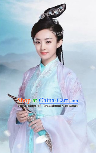 Ancient Chinese Fairy Clothing and Hair Jewelry Complete Set for Women