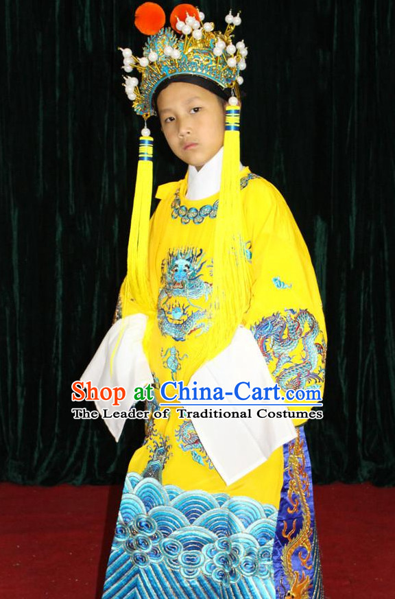 Chinese Opera Emperor Dragon Robe Costumes and Hat Complete Set for Children Boys