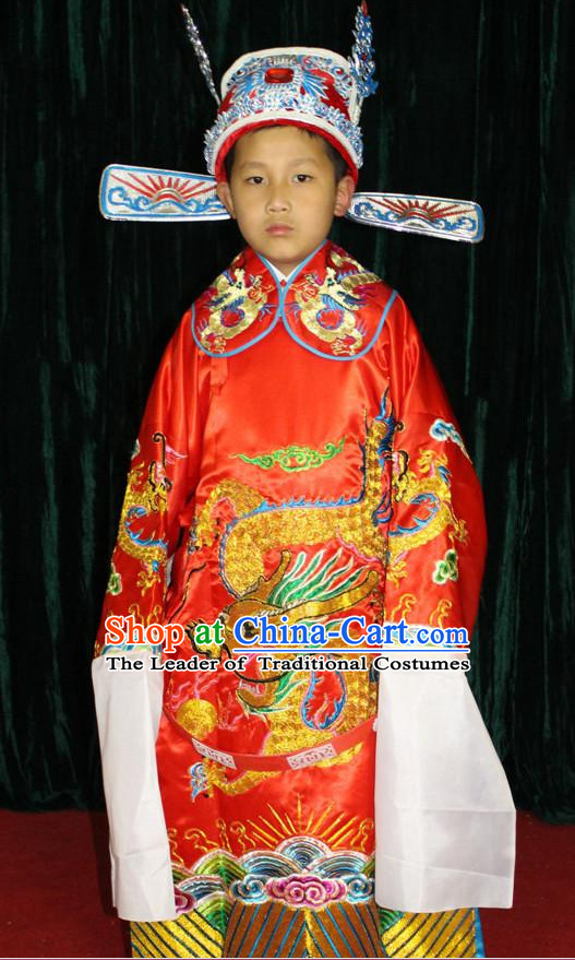 Chinese Opera Official Dragon Robe Costumes and Hat Complete Set for Children Boys