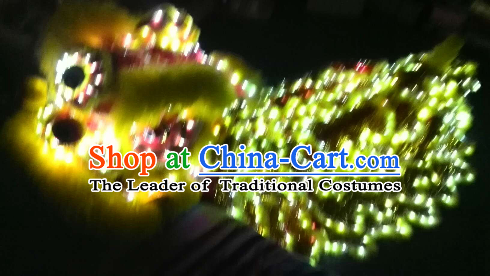 Yellow LED Lights Lion Dance Costumes Complete Set
