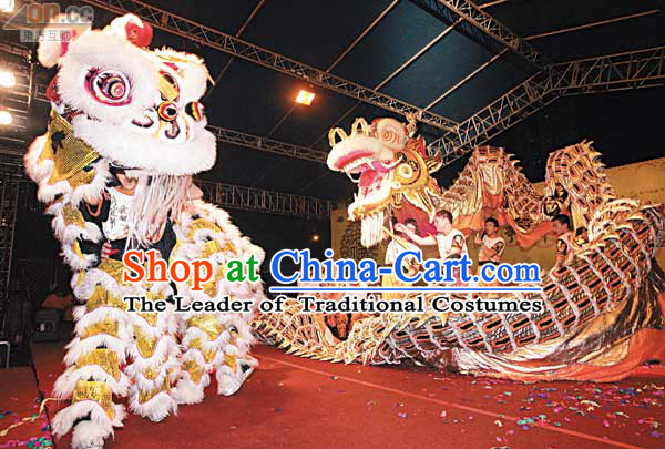 White Top Competition and Parade Chinese Traditional Lion Dance Costume Complete Set