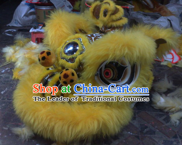 Top Yellow Chinese Classic 100% Natural Long Hok San Style Lion Dance Costumes Complete Set