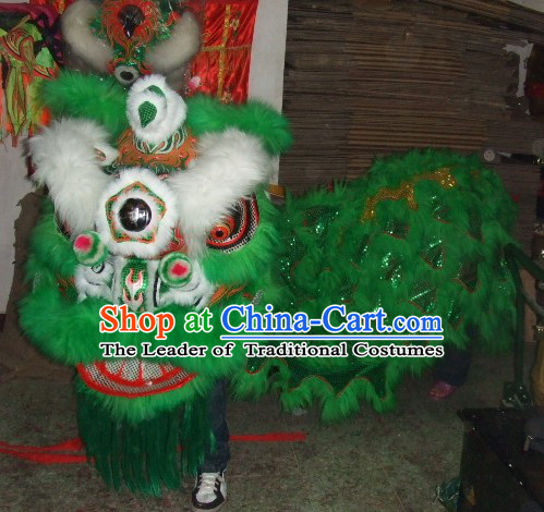 Top Green White Eyebrow Chinese Traditional 100% Natural Long Futsan Style Lion Dance Costumes Complete Set