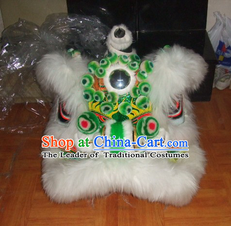 Top White More Balls 100_ Natural Long Wool Chinese Traditional Futsan Style Lion Dancing Uniforms Complete Set