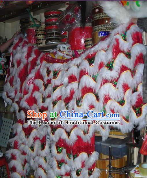 Chinese Traditional 100_ Natural Long Wool Lion Dance Body Costumes Pants Claws Set