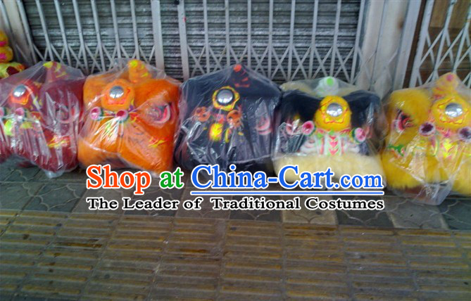 Top Teenagers Chinese Classical 100% Natural Long Wool Fut San Lion Dance Costume Complete Set