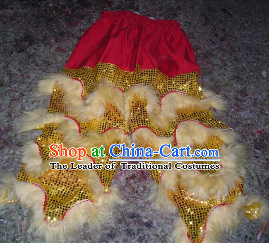 White Chinese Traditional 100% Natural Long Wool Lion Dance Pants Claws Set