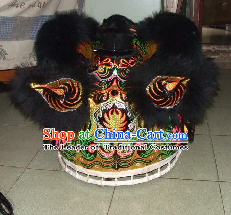 Top Black Teenagers Students Chinese Classical 100_ Natural Long Wool Fut San Lion Dance Costumes Complete Set